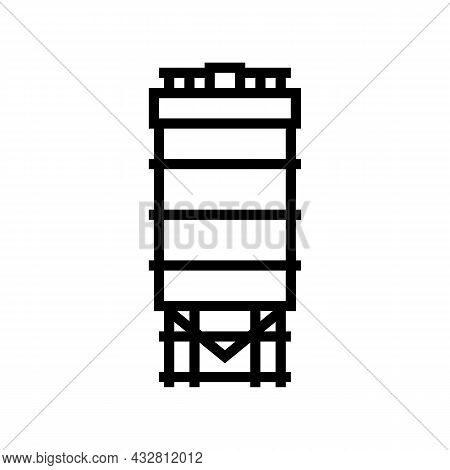 Tank For Coal Storage Line Icon Vector. Tank For Coal Storage Sign. Isolated Contour Symbol Black Il