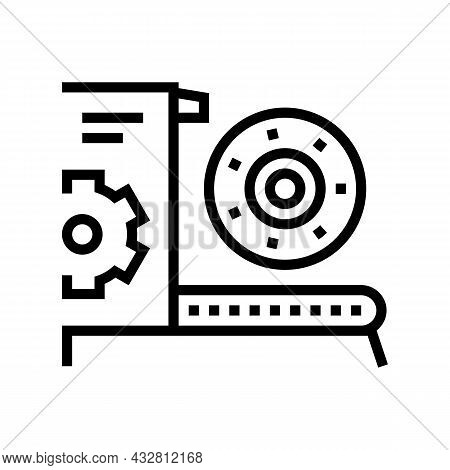 Equipment And Parts Fabrication Line Icon Vector. Equipment And Parts Fabrication Sign. Isolated Con