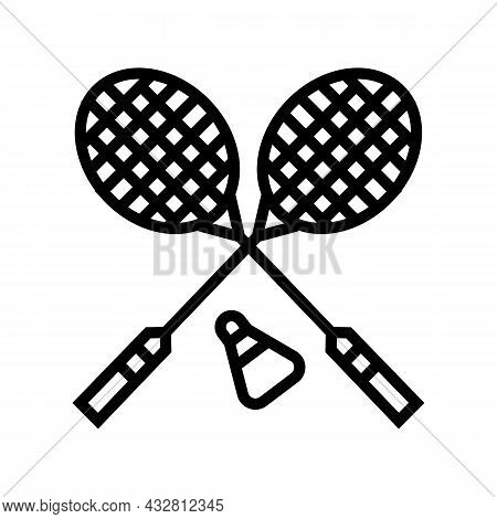 Badminton Sport Game Line Icon Vector. Badminton Sport Game Sign. Isolated Contour Symbol Black Illu