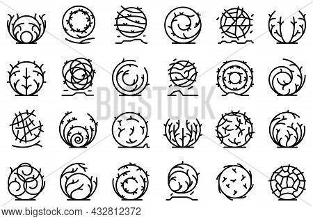 Tumbleweed Icons Set Outline Vector. Western Dead. Weed Ball