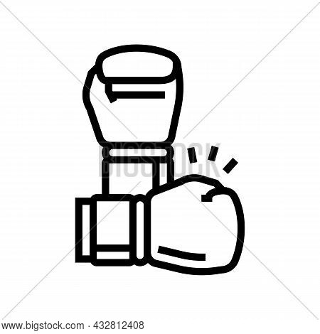 Box Fight Sport Line Icon Vector. Box Fight Sport Sign. Isolated Contour Symbol Black Illustration