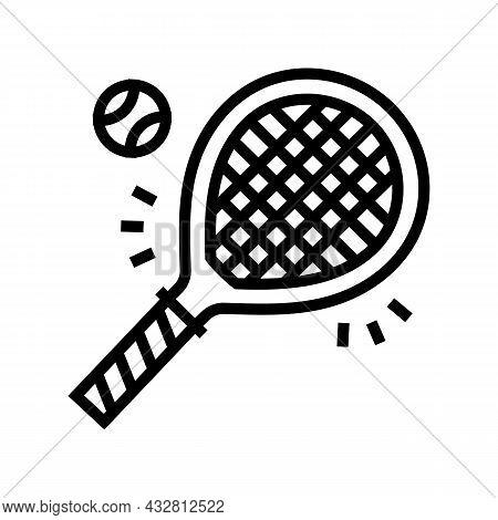 Tennis Sport Game Line Icon Vector. Tennis Sport Game Sign. Isolated Contour Symbol Black Illustrati