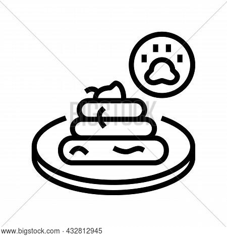 Tapeworm In Poo Line Icon Vector. Tapeworm In Poo Sign. Isolated Contour Symbol Black Illustration