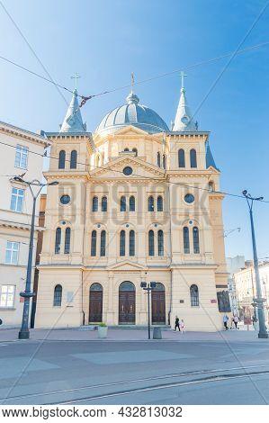Lodz, Poland - June 7, 2021: Roman Catholic Holy Spirit Church In Lodz (until 1945: Lutheran Holy Tr