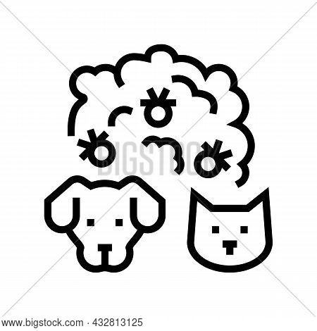 Plague Domestic Animal Line Icon Vector. Plague Domestic Animal Sign. Isolated Contour Symbol Black