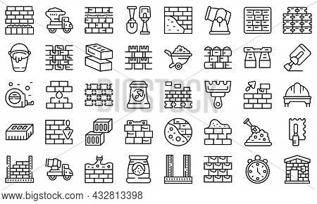 Brick And Mortar Icons Set Outline Vector. Construction Brick. Drywall Stone