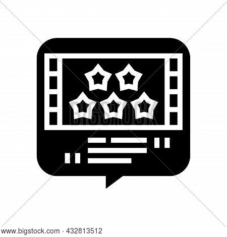 Reviews Movie Glyph Icon Vector. Reviews Movie Sign. Isolated Contour Symbol Black Illustration