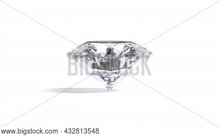 Blank Sparkle Diamond Jewel Mock Up Stand, Front View, 3d Rendering. Empty Wealth Sparkle Gemstone M