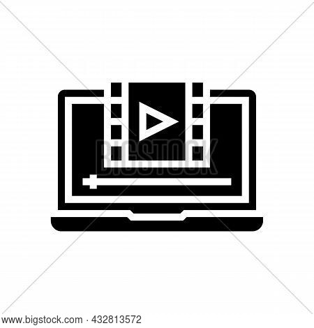 Film Watching On Laptop Glyph Icon Vector. Film Watching On Laptop Sign. Isolated Contour Symbol Bla