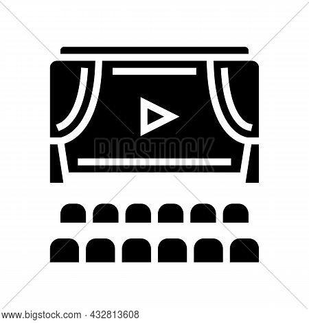 Cinema Display And Seats Glyph Icon Vector. Cinema Display And Seats Sign. Isolated Contour Symbol B
