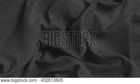 Blank Black Crumpled Fabric Material Mockup, Top View, 3d Rendering. Empty Closeup Creased Material