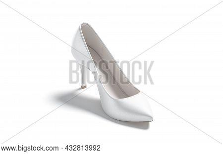 Blsnk White High Heels Shoes Mockup, Side View, 3d Rendering. Empty Leather Female Footwear For Eleg