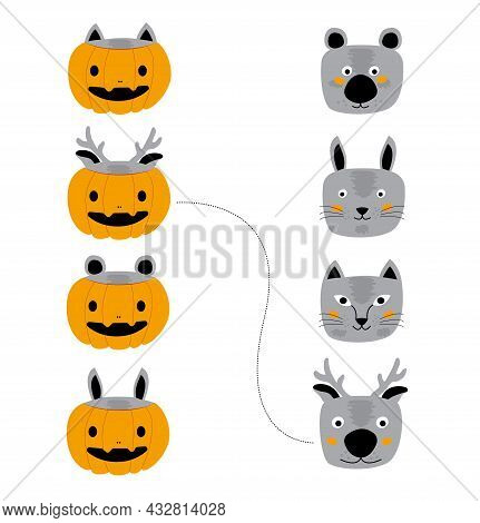 Set Of Funny Animals In Orange Pumpkin Costume For Halloween Holiday. Illustration In A Flat Style O