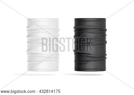 Blank Black And White Unfolded Neck Gaiter Mockup Front View, 3d Rendering. Empty Tube Headwear For