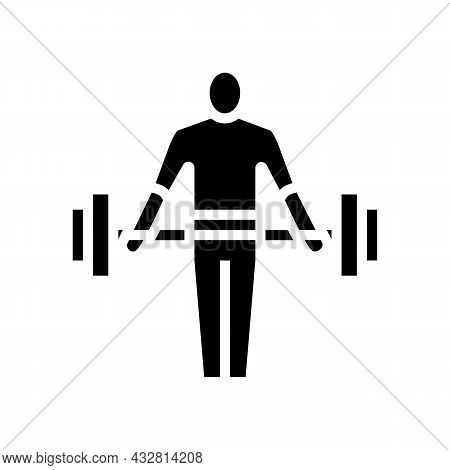 Athlete Exercising With Weight Glyph Icon Vector. Athlete Exercising With Weight Sign. Isolated Cont