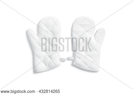 Blank White Oven Mitt Mockup Pair Front, Top View, 3d Rendering. Empty Safety Kitchenware Gantlet Fo
