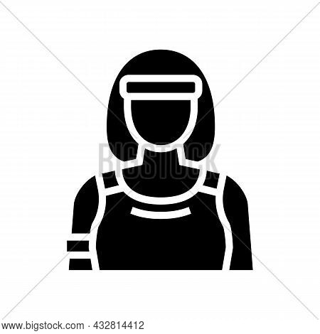 Sport Woman Athlete Glyph Icon Vector. Sport Woman Athlete Sign. Isolated Contour Symbol Black Illus