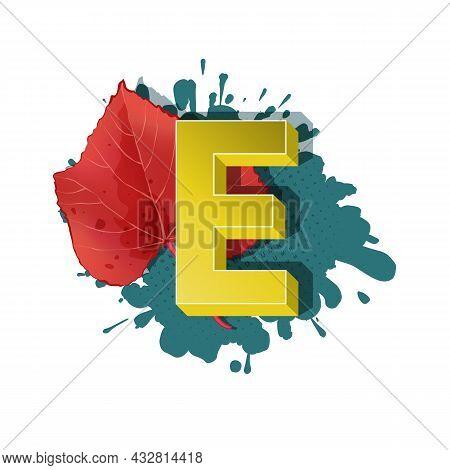 Autumn 3D Pop Art Alphabet - Colorful Bold Letter E