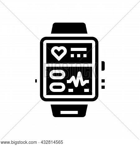 Fitness Bracelet Electronic Gadget Glyph Icon Vector. Fitness Bracelet Electronic Gadget Sign. Isola