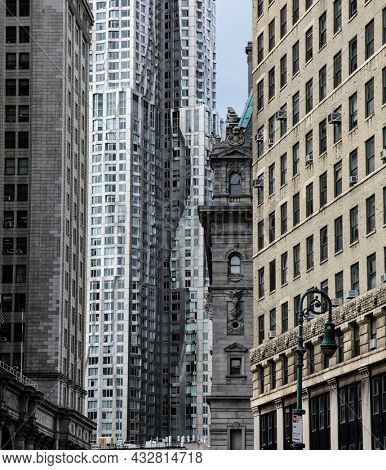 NEW YORK - APRIL 8, 2016: Architecture view from modern and old facade near Worth St. street in Lower Manhattan