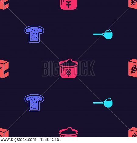 Set Measuring Cup With Flour, Bread Toast, Bag Of And Flour Pack On Seamless Pattern. Vector