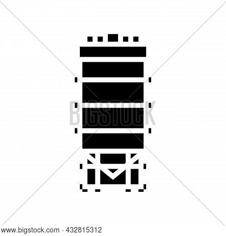Tank For Coal Storage Glyph Icon Vector. Tank For Coal Storage Sign. Isolated Contour Symbol Black I