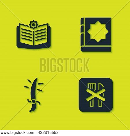Set Holy Book Of Koran, Ramadan Fasting, Arabian Saber And Icon. Vector