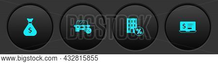 Set Money Bag, Car Leasing Percent, House With Percant Discount And Laptop Dollar Icon. Vector