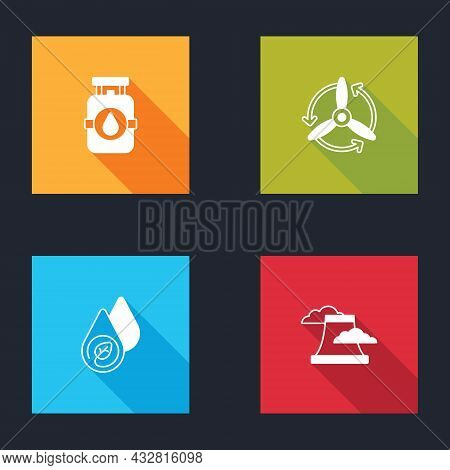 Set Propane Gas Tank, Wind Turbine, Water Energy And Nuclear Power Plant Icon. Vector
