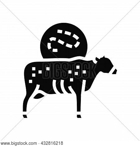 Anthrax Cow Glyph Icon Vector. Anthrax Cow Sign. Isolated Contour Symbol Black Illustration