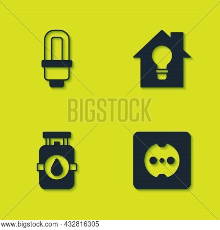 Set Led Light Bulb, Electrical Outlet, Propane Gas Tank And Smart House And Icon. Vector