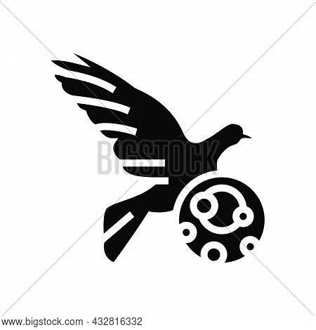 Psittacosis Bird Glyph Icon Vector. Psittacosis Bird Sign. Isolated Contour Symbol Black Illustratio