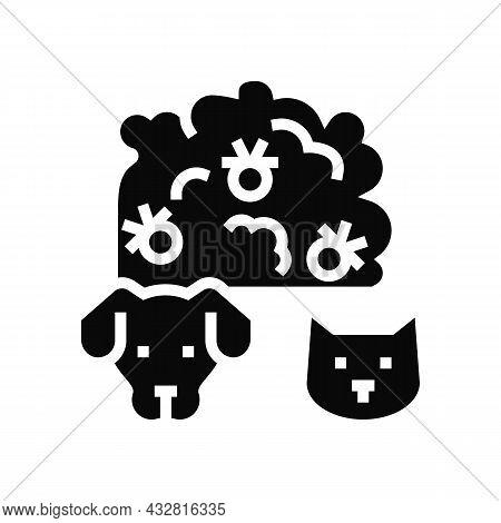 Plague Domestic Animal Glyph Icon Vector. Plague Domestic Animal Sign. Isolated Contour Symbol Black