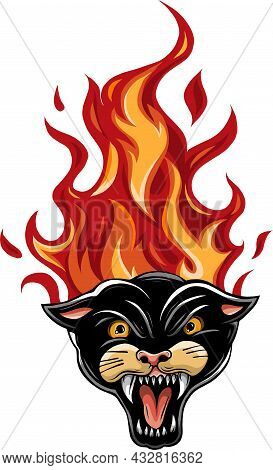Vector Illustration Of Panther Burning Flame Head.