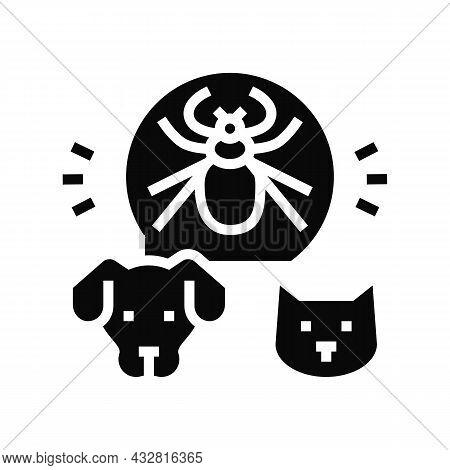 Mite On Animal Body Glyph Icon Vector. Mite On Animal Body Sign. Isolated Contour Symbol Black Illus