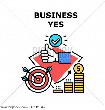 Business Yes Vector Icon Concept. Business Yes Investor Approving Startup Idea And Gesturing Thumb U