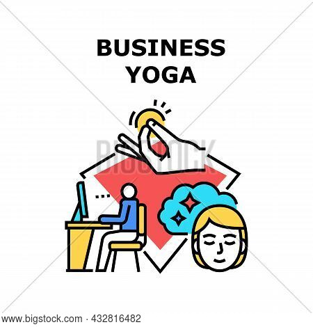 Business Yoga Vector Icon Concept. Business Yoga Exercise Training For Relaxation And Recreation Aft