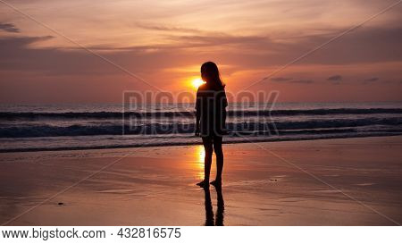 Smile Freedom And Happiness Silhouette Woman On Beach Summer Travel Vacation Concept Traveler Asian