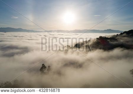 Amazing Scenery Nature Landscape Nature View Aerial View Drone Camera Photography Of Mist Or Fog Flo