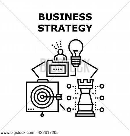 Business Strategy Idea Vector Icon Concept. Thinking And Planning Business Strategy Idea, Analyzing