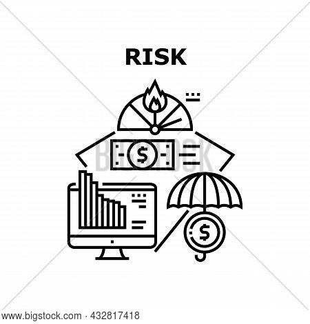 Financial Risk Vector Icon Concept. Financial Risk Of Falling Rate On Market Economy Problem. Financ
