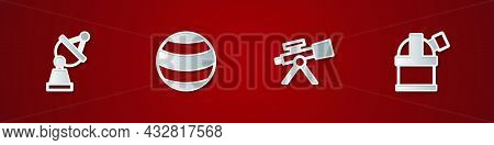 Set Satellite Dish, Planet, Telescope And Astronomical Observatory Icon. Vector