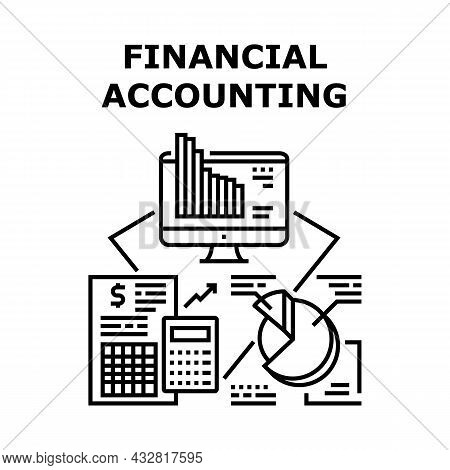 Financial Accounting Vector Icon Concept. Financial Accounting And Analyzing Annual Report. Research