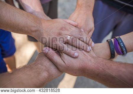 Solidarity Unite People Hands Together Community Teamwork Outdoor.