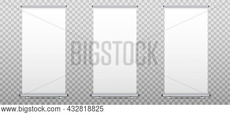 Roll Up Banner Stand Set Isolated On Transparent Background. Realistic Advertising Billboard Banners