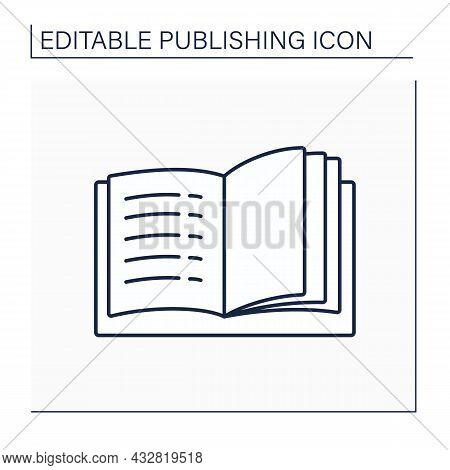 Contents Line Icon. Different Chapters And Sections In Book.list At Beginning Of Book. Publishing Co