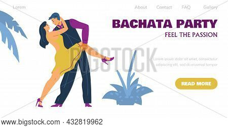 Bachata Dancing Party Web Banner With Dancing Couple Flat Vector Illustration.