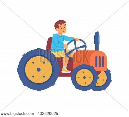 Child Little Farmer Character Driving Tractor Flat Vector Illustration Isolated.