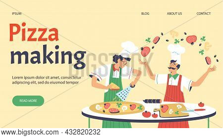 Pizza Making Web Banner With Italian Chef Cooks Flat Vector Illustration.