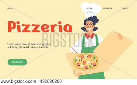 Pizzeria Restaurant Website With Cook Offers Pizza, Flat Vector Illustration.